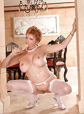 Grannie strips in livingroom