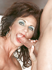 Hardcore mom in deep blowjob action