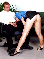 Redhead secretary sucks and fucks the boss