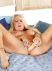 Tempting blonde Anilos Chennin Blanc gets juicy wet while riding her favorite dildo