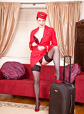 Seductive mature stewardess satisfies her cock craving mature pussy