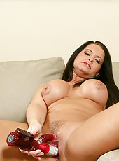 Maya divine sucks on the rabbit toy, coating it in her saliva to allow smooth entry in to her tasty pussy