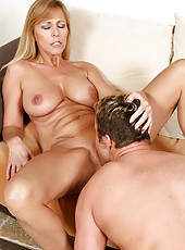 Experienced Nicole Moore gets her honey coated pussy ate before riding a thick cock