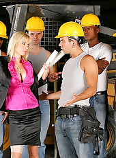 Amazing big round tits hot ass milf gets fucked by the construction workers on work site in these hot fucking update pics