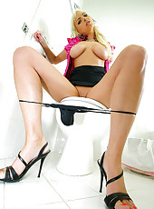 Amazing hot young mini skirt long leg blonde gets fucked hard in her office bathroom after masturbating in these hot fucking screaming pics