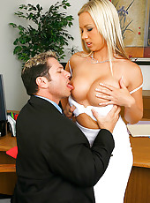 Robyn gets her tits fucked and pussy rammed in the office after demanding to get fucked hard by her employee