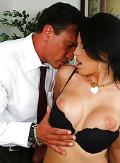 Amazing big tit charisma uses her ceo title to get her pussy pounded hard against the desk in these hot office fucking pics and big video