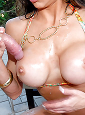 Amazing big tits hunter gets her hot tight pussy drilled by the pool and her nice tits creamed