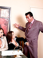 Savannah and her hot office gfs get down for some office sex