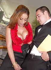 Sexy boss with huge gorgeous boobs fuck her employee at home watch her tits get banged