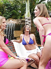 3 hot ass mini skirt milfs pounded hard in their wet bikinis hot ass licking pussy fucking pics