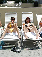 4 sexy milfs get nasty poolside in these hot pix