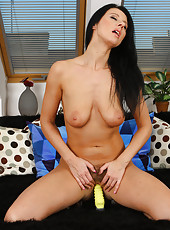 32 year old Enza form AllOver30 gets intimate with her yellow toy