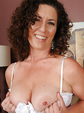 45 year old brunette housewife Tammy Sue in sexy white lingerie