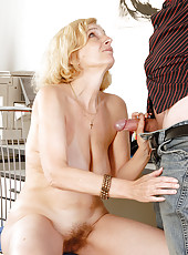 51 year old blonde MILF Hillary takes some serious hard cock in here