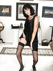 Popular and elegant Sydney removes all but her black stockings