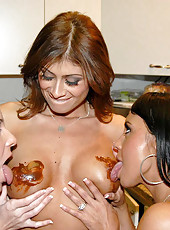 This hot milf baking session gets crzy when the chocolate starts to cover the nipps