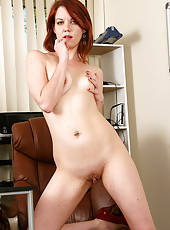 Lilla Katt from AllOver30 feels and looks better naked behind her desk