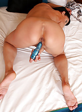 Horny 52 year old Kitty S enjoying her vibrating blue dildo in here