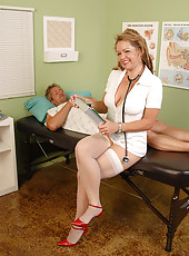Hot blonde mature nurse takes advantage of her patient in here