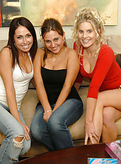 These 3 milfs just got back from shopping for new toys and are anxious to use thm