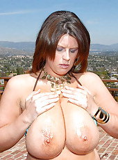 Mega tits these tities are huge liza gets slammed hard fucked inthe mouth cum on her sexy little ass