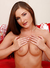 Tight 32 year old Angel Snow slips off her lingerie and spreads wide