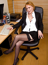 At 46 years old Tiffany T still looks great sitting naked in the office