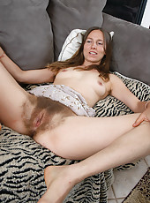 Mature hippy chick with a really hairy pussy