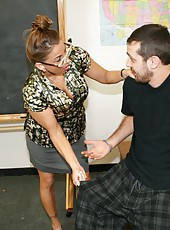 When Billy oversleeps and arrives to class in his pjs, he gets scolded by his bossy and busty school teacher Mrs. Stacie Starr who forces him to cum twice