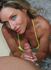 Jodi West gives handjob with sunscreen