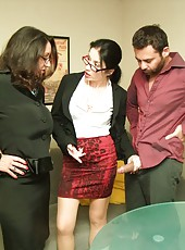 Persia Minor and Tatiana Petrova catch John jerking his rod. The two horny housewives are so turned on, they decide to help him jerk off. They start tweaking their twats together as Johnny finishes himself off.