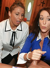 rachel steele and stacie star give handjob with condom