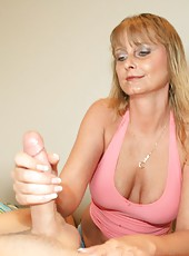 Milf Trish Demaris gives a handjob while Jimmy is sleep