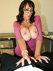 Claire makes a bet with her strict boss that she can make him cum in under five minutes. If she wins the bet she gets a raise. Claire then uses her huge tits and hands to make her boss explode his jizz all over her whopping 44fff tits