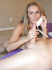 MILF Sara James gets a call from her girlfriend Angel while jacking off her neighbor boy