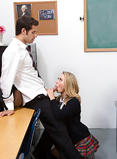 Blonde teacher and student combo do work on one big cock.