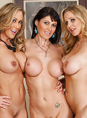 3 Busty gorgeous hot moms decide to play with each others pussy