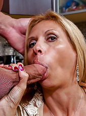 Hot blonde gets fucked hard in the kitchen.
