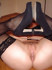 Sexy MILF spreads for her hubby