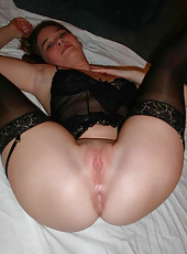 Kinky MILF in black stockings