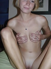 Skinny housewife naked and posing