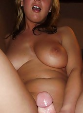 Slutty blonde MILF naked inside office