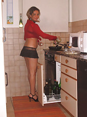 Gorgeous housewife naked and posing