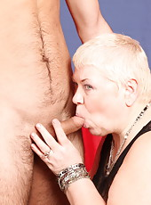 Boy gives plus-size oldie some dicking and a mouthful of cum