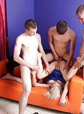 Mom�s party with four boys ends up with a wild gangbang