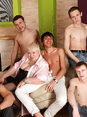Five boys getting their dicks sucked by a naughty fat mama