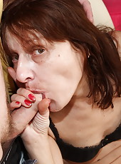 Mature babe gets to savor two big and stone-stiff shlongs