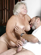 Plump old woman enjoys sex with her lawful dick