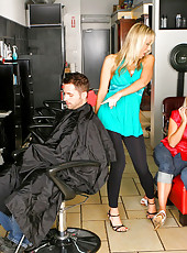 Check out three hot ass milfs fuck a client at the barber shop in this hot masterbation 1 dude 3 milf fucking adventure